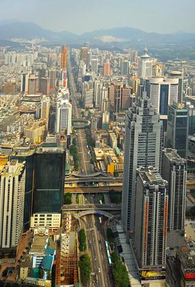 深圳中心区深南大道俯拍