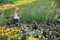 田园中的鸭子妈妈彩雕