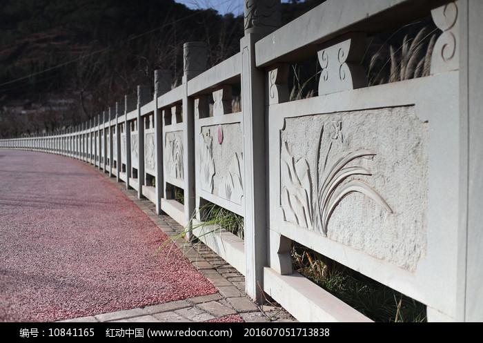 公园石头扶手围栏摄影图图片