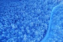 航拍林海雪原山路