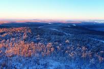 大兴安岭暮色中的冰雪森林