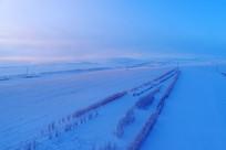 航拍田野农田雪景