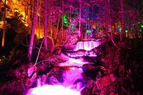 长白山丛林溪流瀑布灯光夜景