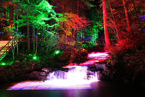 吉林延边森林山溪灯光夜景