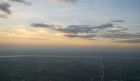 傍晚的杭州城市及钱塘江航拍