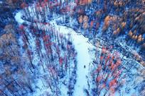 大兴安岭冬季冰河红树林航拍