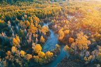 航拍密林河湾五彩林