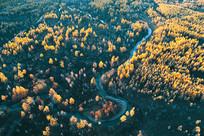 航拍森林河湾秋色