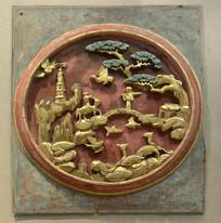 金漆木雕牛郎织女鹊桥会图饰板