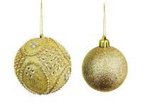 一对金色圣诞球