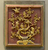 金漆木雕喜上梅梢图插板