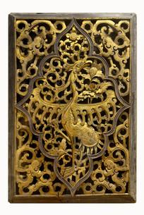 金漆透雕卷云花卉瑞鹤纹饰板