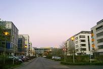 德国法兰克福的清晨街道和路灯