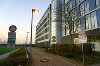 德国法兰克福清晨街道和路牌