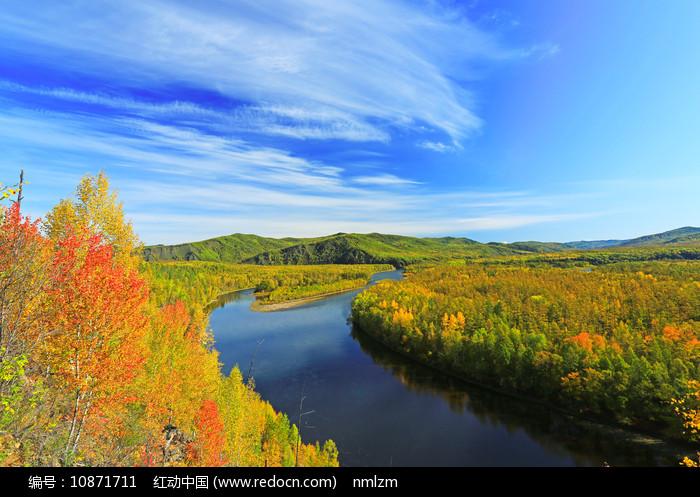 大兴安岭秋季激流河五彩林图片