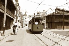 老上海的有轨电车街景