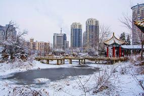 公园石桥凉亭与高层建筑雪景