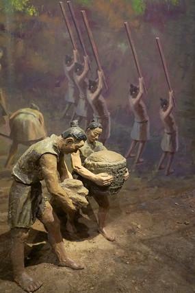 成都平原史前宝墩遗址古人类雕塑
