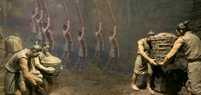 成都史前宝墩遗址古人类活动雕塑