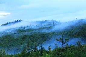 大兴安岭原始森林晨雾缥缈