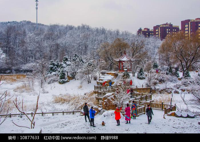 孤岛凉亭折形石桥与山林雪景图片
