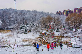孤岛凉亭折形石桥与山林雪景