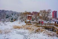孤岛凉亭折形石桥与住宅雪景