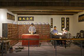 老式传统中药店场景雕塑