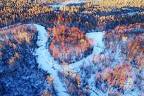 大兴安岭雪河河湾红柳风景