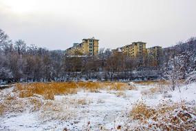 多层住宅群与雪覆盖的草地山林