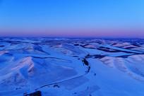 航拍冬季农田雪野雪景