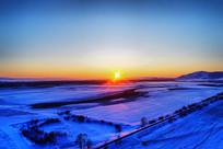 航拍雪野日落