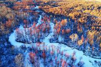 冰封河流红柳