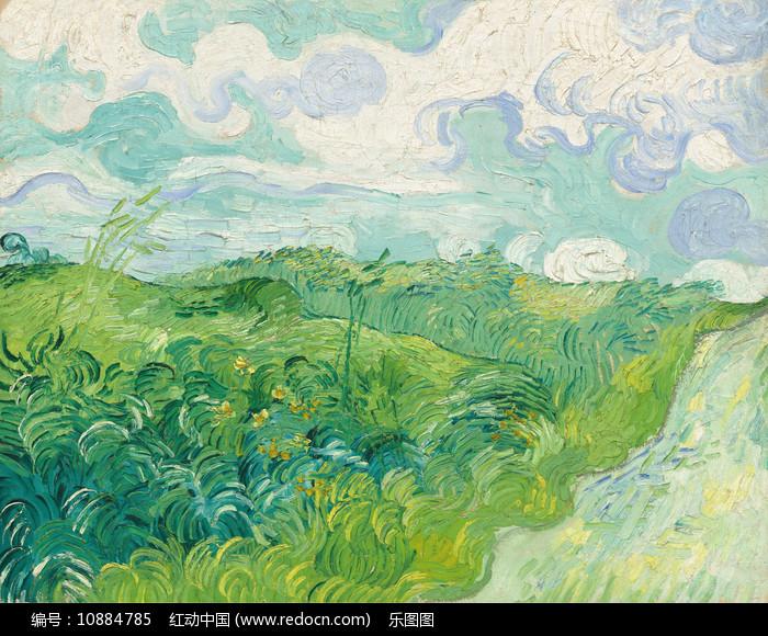奥维尔的绿色麦田油画图片