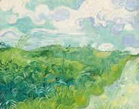 奥维尔的绿色麦田油画