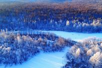 大兴安岭冬季雪河风景(航拍)