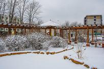 花园直角长廊凉亭与树木丛雪景