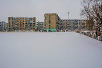 校园操场雪地与多层住宅建筑群
