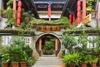 云南建水古城中式客栈庭院