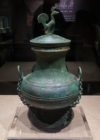 东汉文物孔雀盖提梁铜壶