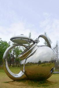 白鹭湾茶壶不锈钢雕塑
