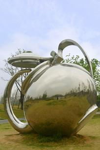 不锈钢雕塑茶壶