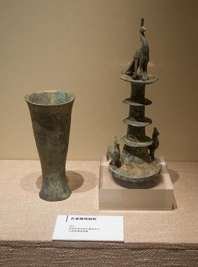 西汉文物孔雀雉鸡铜杯