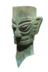 三星堆商代文物铜人头像侧面