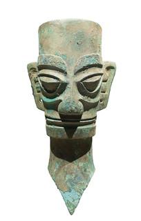 三星堆商代文物铜人头像正面