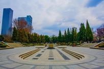 沈阳中山公园广场全景建筑松树