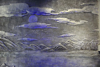 彩云追月山水浮雕