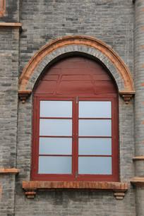 民国砖墙窗户