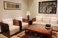 现代红木沙发茶几