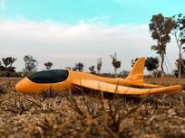 草坪上的飞机模型